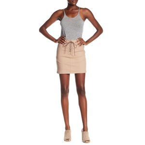 Dex Lace Up Tan Mini Skirt